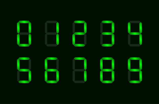 Set of green digital number made up from seven segments Premium Vector