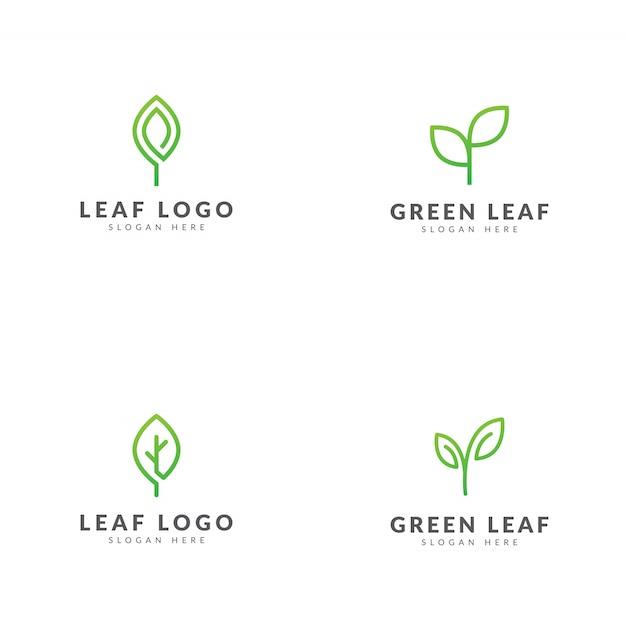 Set of green leaf logo template vector design Premium Vector