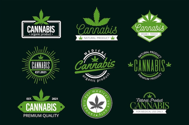 Set di badge di cannabis medica verde Vettore gratuito