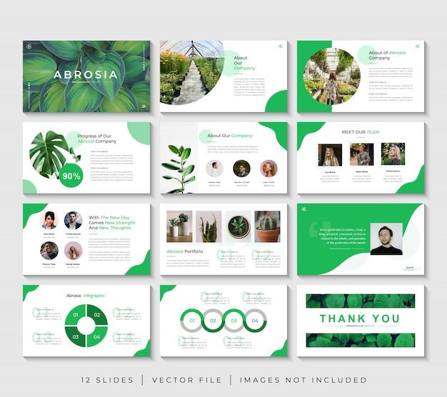 Установить зеленый характер бизнес powerpoint презентации слайдов шаблон Premium векторы