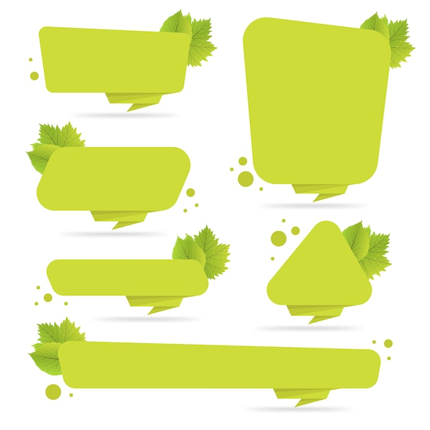 Set of green paper origami banners with leaves. template for bio products, sales, web sites and labels. place for text vector illustration Premium Vector