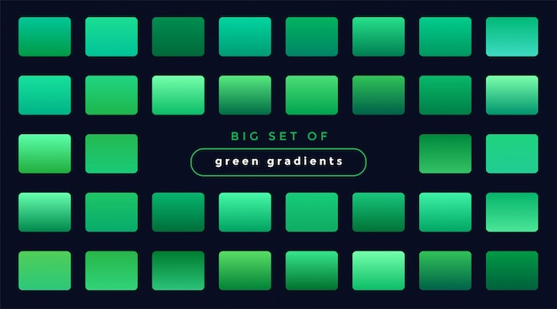 Set of green smooth gradients Free Vector
