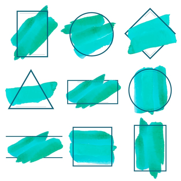 Set of green watercolor banner design vector Free Vector