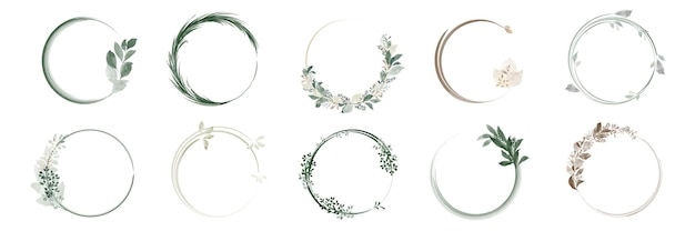 Set of greenery leaf wreaths and bouquets frame with watercolor hand painted. Premium Vector
