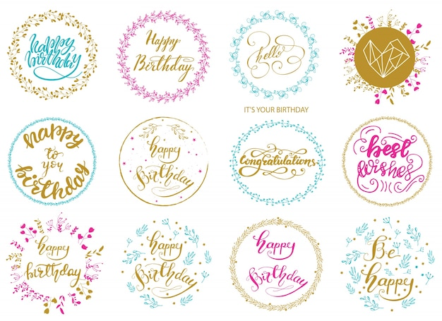 Set of greeting birthday lettering designs. vector illustration. Premium Vector