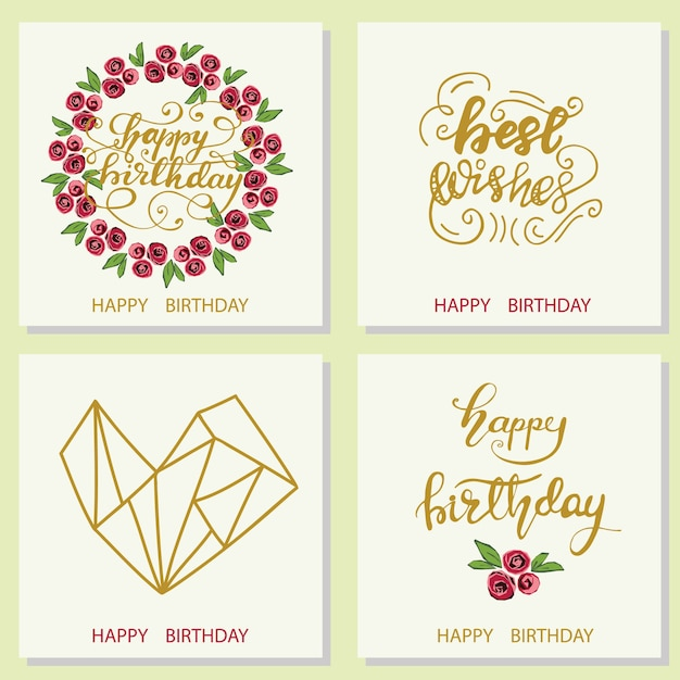 Set of greeting card designs with lettering happy birthday. vector illustration. Premium Vector
