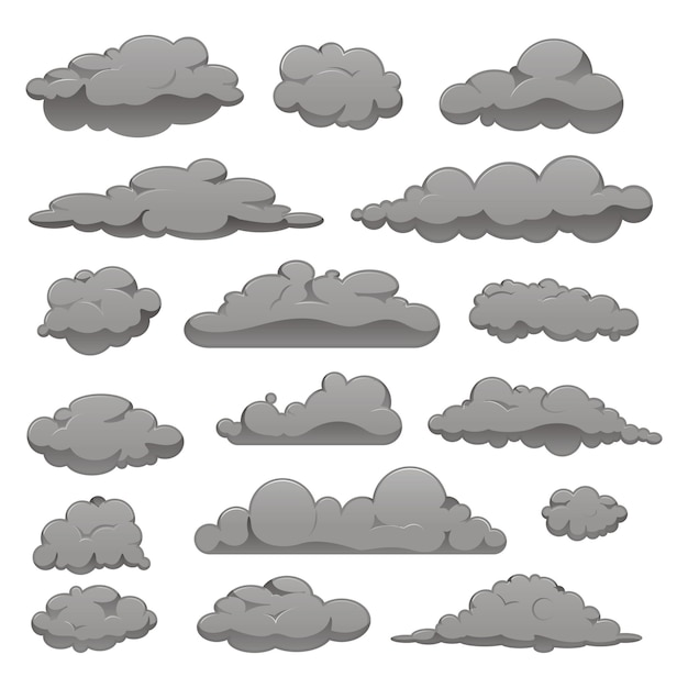 Set of grey clouds of different forms. Premium Vector