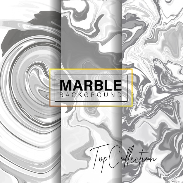 Set of grey marble texture design Premium Vector