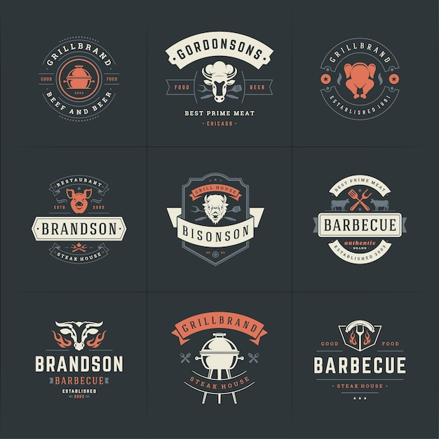 Set of grill and arbecue logos Premium Vector