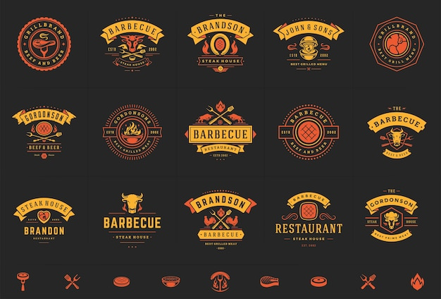 Set of grill and barbecue logos Premium Vector