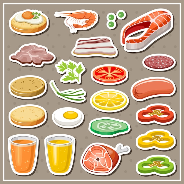 Set of grocery stickers. vegetables, snack, drinks. Premium Vector