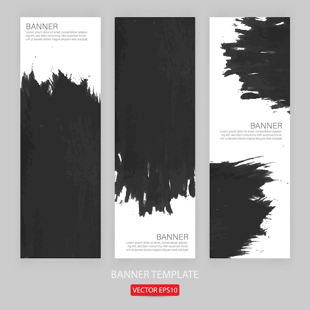 Set of grunge banner template hand drawn painted scratched for promotion Premium Vector