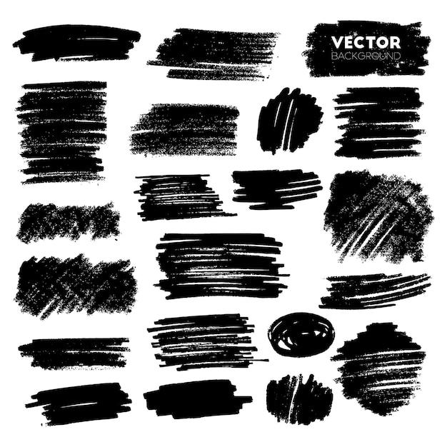 Set of grunge brush strokes Premium Vector