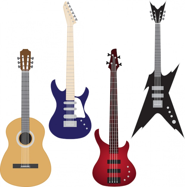 Set of guitars Premium Vector
