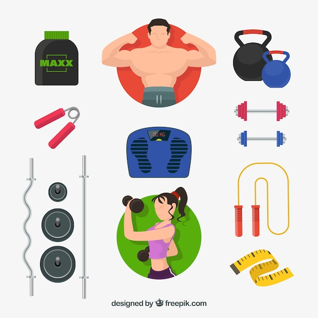 Set of gym elements with exercises tools Vector | Free Download