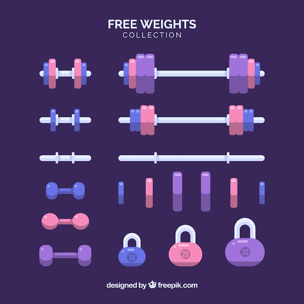 Set of gym elements with exercises tools Free Vector