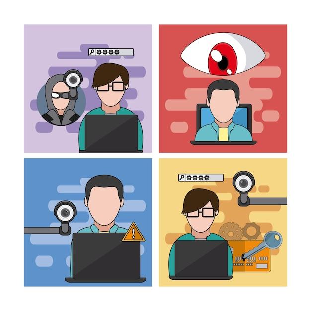Set of hacker icons collection vector illustration graphic design Premium Vector
