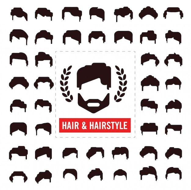 Set of hair silhouettes, man and woman hairstyle Premium Vector