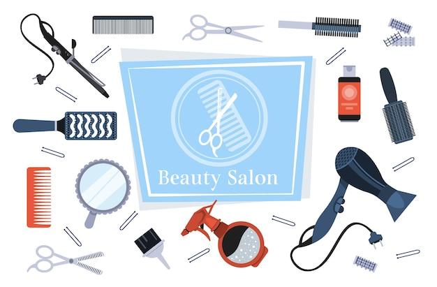 Набор парикмахерских инструментов и аксессуаров коллекция салон красоты концепция горизонтальной векторные иллюстрации Premium векторы