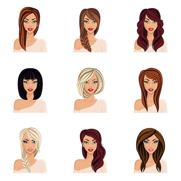 Premium Vector Set Of Hairstyles For Girls Create Your Avatar Young Woman Girl Hairstyles For Long Hair Isolated Face Neck Eyes Lips