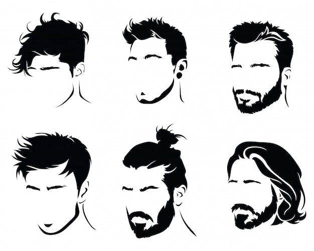Set of hairstyles for men. collection of black silhouettes of hairstyles and beards. Premium Vector