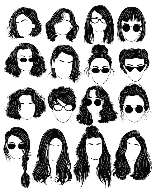 Set of hairstyles for women. collection of black silhouettes of hairstyles Premium Vector