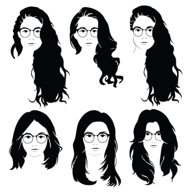 Set of hairstyles for women with glasses. collection of silhouettes of hairstyles for girls. Premium Vector