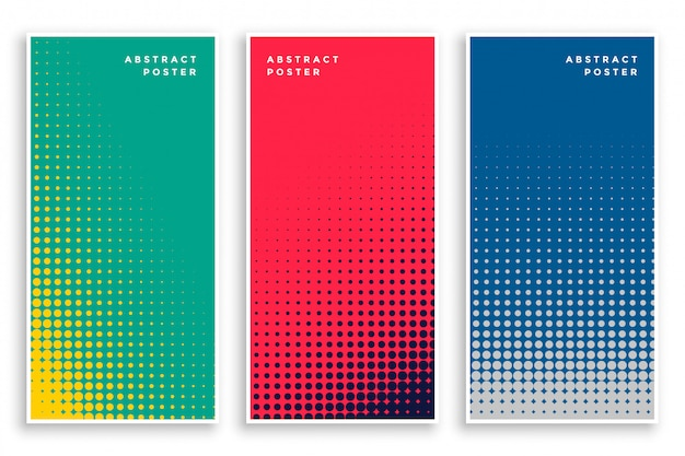 Set of halftone banners Free Vector