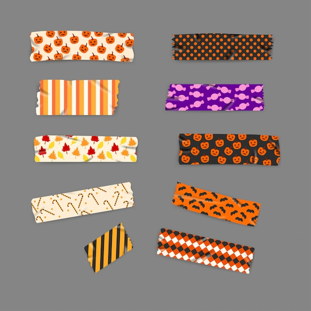 Set halloween and autumn washi tape Premium Vector