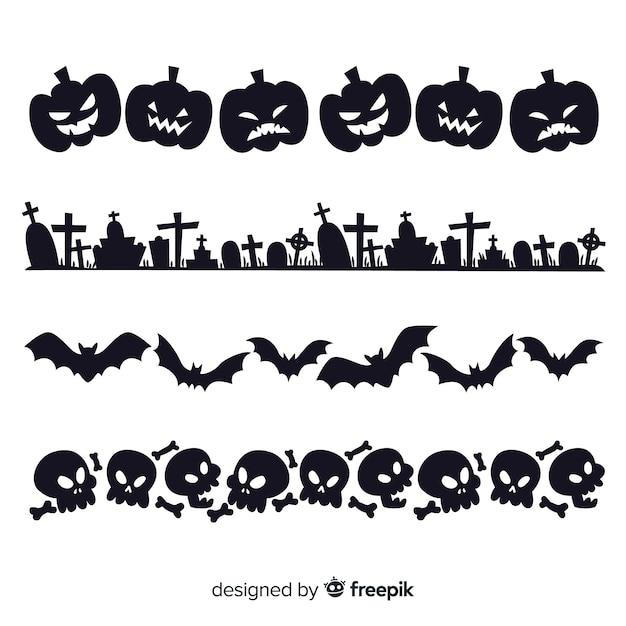 Set of halloween borders Free Vector