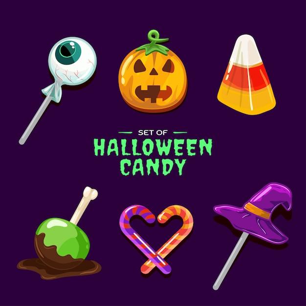 Set of halloween candy Premium Vector