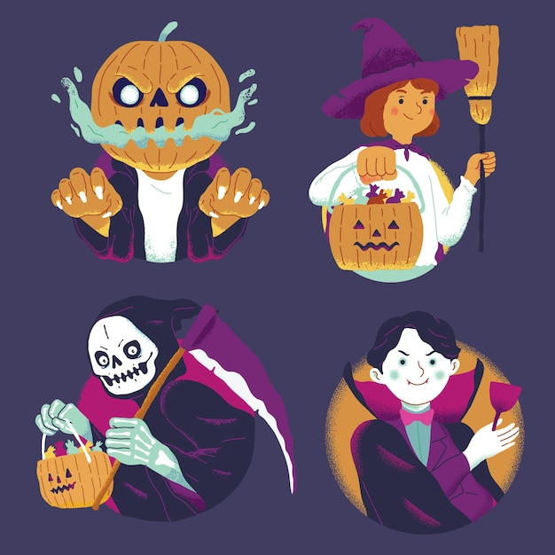 Set of halloween character witch, grim reaper, vampire, jack o lantern pumpkin with candy Free Vector