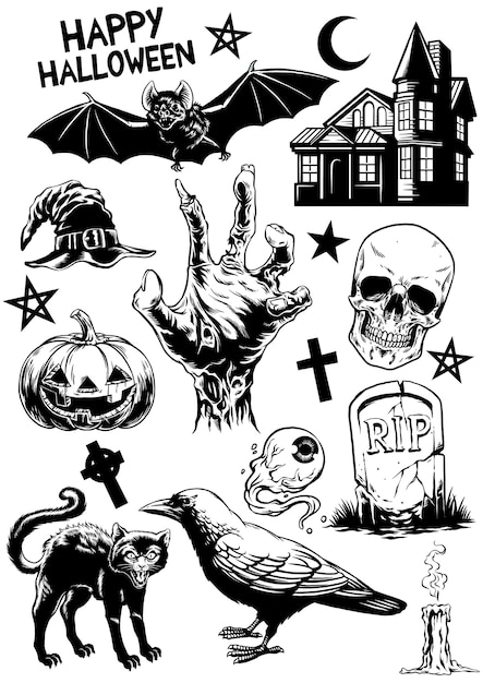 Set halloween drawing of halloween objects in black and white Premium Vector