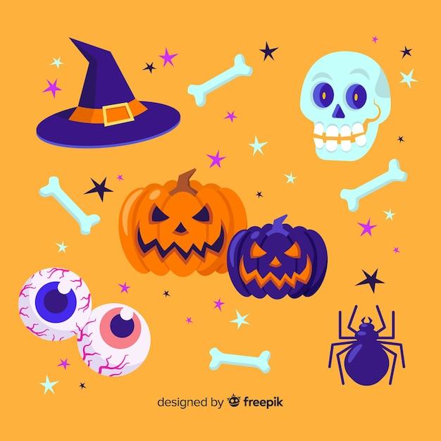 Set of halloween elements flat style Free Vector