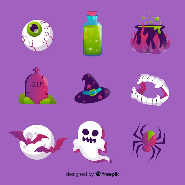 Set of halloween elements flat style Free Vector