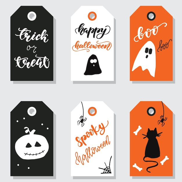 Premium Vector Set Of Halloween Gift Tags Vector Illustration
