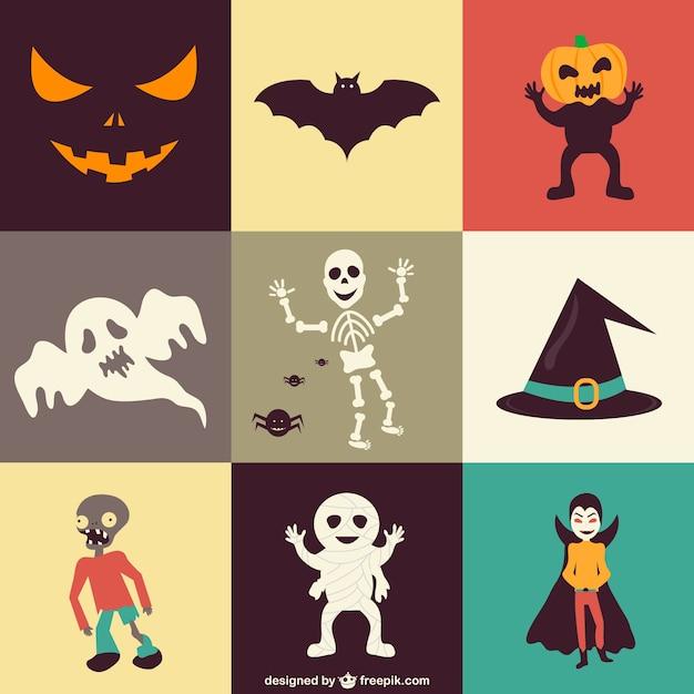 Set of halloween icons Free Vector