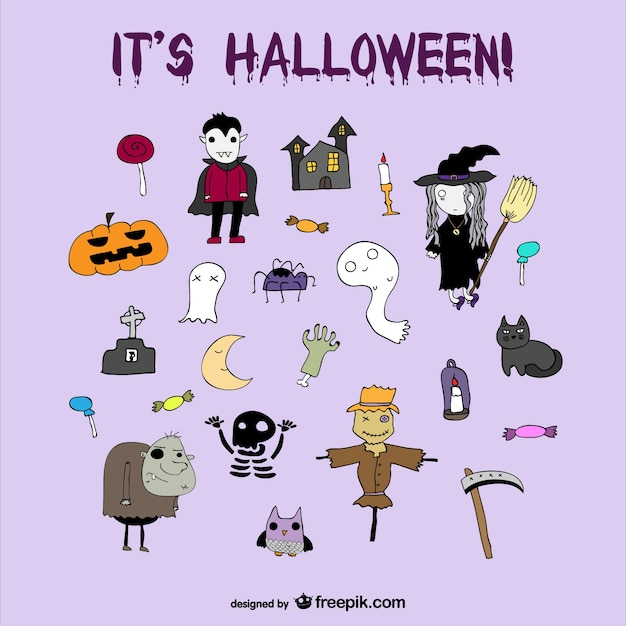 Set of halloween nice cartoon icons Free Vector