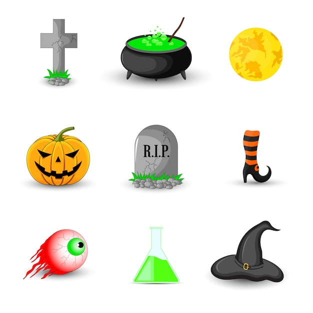 Set of halloween objects  on white background Premium Vector