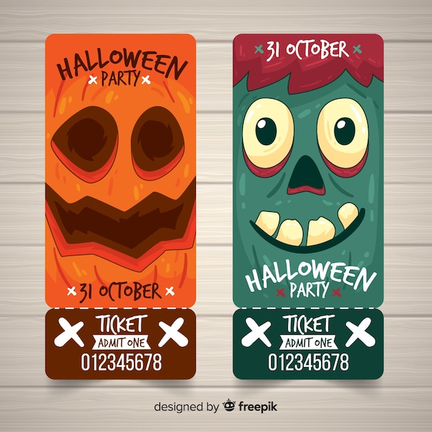 Set of halloween party tickets with monster faces Free Vector