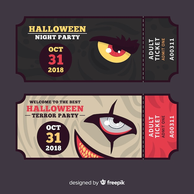 Set of halloween party tickets with monsters' eyes Free Vector