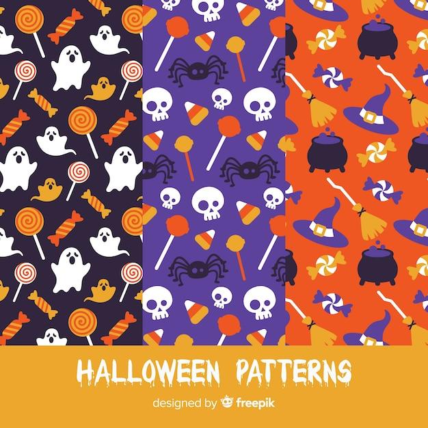 Set of halloween patterns in flat design Free Vector