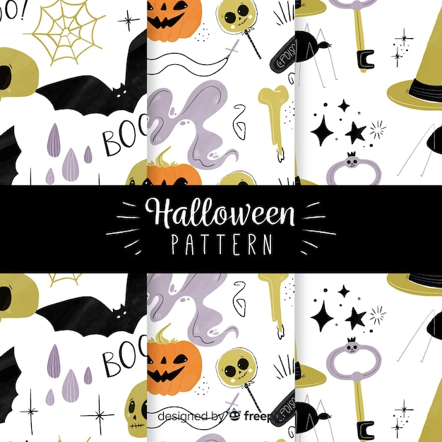 Set of halloween patterns in flat design Free Vector