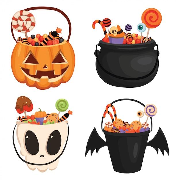 Set of halloween pumpkin bucket filled with sweets. cartoon illustration of a basket for halloween. Premium Vector