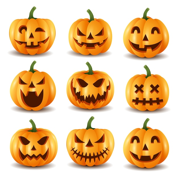 Set of halloween pumpkins, funny faces.vector illustration Premium Vector