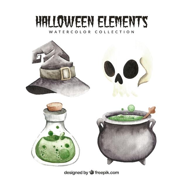 Set of halloween watercolor elements Free Vector