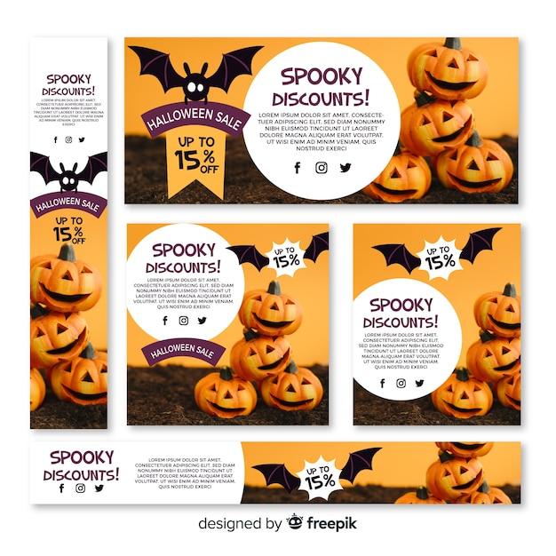 Set of halloween web sale banners Free Vector