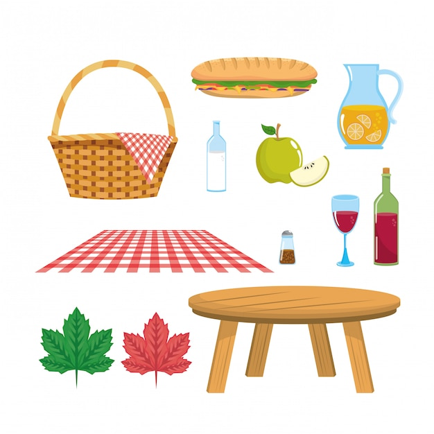 Set of hamper with tablecloth and table with food Free Vector
