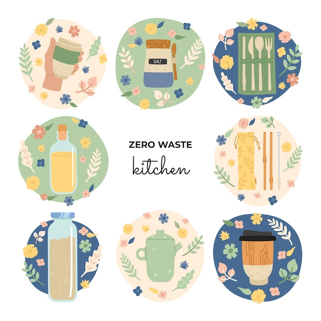 Set of hand drawing eco objects for kitchen, dishes, jars, a thermal cup, a ceramic teapot, bamboo straws, a set of cutlery. zero waste, go green. Premium Vector