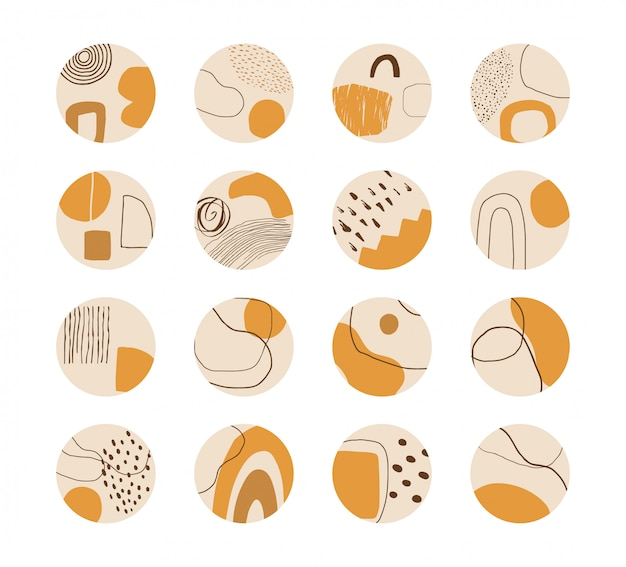 Set of hand drawn abstract collage templates for social media highlights. Premium Vector